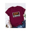 Summer Trendy Letter NOPE NOT TODAY Short Sleeve Round Neck Loose Fit Tee