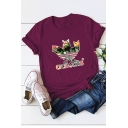 Funny Leaf Cat Adicats Letter Printed Relaxed Cotton Graphic Tee