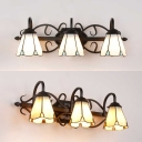 Tiffany Style Conical Sconce Light Glass 3 Lights White/Yellow Wall Light for Dining Room