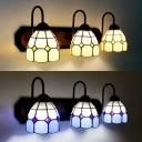 Glass Dome Shade Sconce Light 3 Lights Tiffany Style Wall Light in Beige/Blue for Bathroom