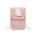 Trendy Leaf Patched Pearl Embellishment Crossbody Cell Phone Purse 12*2*18 CM