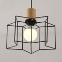 Caged Pendant Lighting with Star/Geometric Shape Single Light Metal Pendant Light