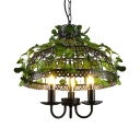 Rustic Chandelier with Cage and Leaf Decoration Kitchen 3 Lights Metal Chandelier Light
