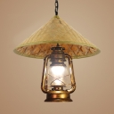 Pastoral Lantern Pendant Light for Restaurant Bamboo Hat One Bulb Drop Light with 35.5