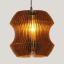 Paper Pendant Light for Cafe Rustic Single Bulb Suspended Light in Brown with Adjustable Cord