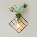Beautiful String Light Metal and Clear Glass Wall String Light with Bottle and Flower for Living Room