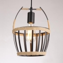 Rustic Basket Pendant Lighting Metal Single Light Pendant Light Fixture for Dining Room