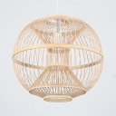 Rustic Beige Ceiling Fixture with Globe Shape Single Light Bamboo Pendant Lamp for Living Room