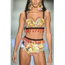 Sexy Retro Tribal Printed Tassels Patchwork Spaghetti Straps High Waist Bottom Bikini
