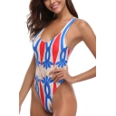 Womens Summer Stylish Colorblock Printed Sexy High Leg Backless One Piece Swimsuit