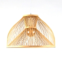 Vintage Style Ceiling Light with Shade Single Light Bamboo Pendant Lighting in Beige for Kitchen