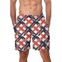 Summer Trendy Pattern Elastic Waist Mens Casual Loose Beach Shorts Swim Trunks