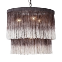 Dome Shape Living Room Chandelier Tassel 4 Lights Rustic Style Hanging Light in Brown