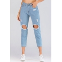 Fashion Light Blue Ripped Big Hole Design Womens Straight Fit Capri Jeans