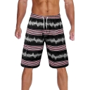 Summer New Trendy Ombre Colorblock Drawstring Waist Mens Lounge Swim Trunks