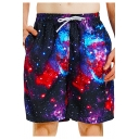Summer Trendy Galaxy Pattern Men's Drawstring Waist Beach Swim Shorts with Lining