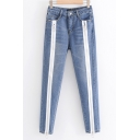 New Stylish Chic Double Zip Tape Embellished Women's Regular Fit Blue Jeans