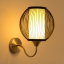 Wood Globe Wall Lamp Single Light Vintage Style Sconce Wall Light in Black for Bedroom Study