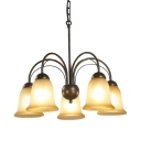 Lights Bell Shape Chandelier American Rustic Metal and Frost Glass Pendant Lighting for Living Room