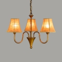 Bedroom Foyer Tapered Shade Chandelier Metal and Fabric 3 Lights Antique Style Brass Hanging Light