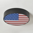 Industrial Drum Flush Mount Acrylic LED Flush Light with National Flag of American