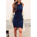 Womens Basic Simple Plain Sleeveless Round Neck Mini Sheath Tank Dress
