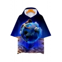 Funny Blue Figure Earth Printed Relaxed Fit Short Sleeve Hooded T-Shirt