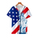 Independence Day Stylish Flag Print V-Neck Short Sleeve Button Down Casual Baseball Shirt
