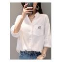 Simple Cartoon Cat Pocket Chest Three-Quarter Sleeve V-Neck White Button Shirt
