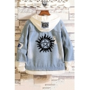 New Stylish Logo Printed Patched Hooded Long Sleeve Casual Blue Denim Jacket