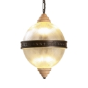 Antique Style Globe Shape Chandelier 6 Lights Metal and Glass Pendant Lighting for Restaurant Cafe