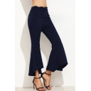 Womens Solid Color Fashion Asymmetrical Cuff Zip Side Slim Fit Flare Pants