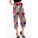 Summer Fashion Colorblock Plaid Printed Elastic Waist Casual Cropped Bloomers Pants for Women
