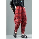 Women's Vintage Linen Plaid Printed Casual Harem Pants Carrot Pants