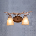 Antique Style Bell Shape Sconce 2 Lights Frosted Glass Wall Lamp with Deer Horn Decoration for Indoor
