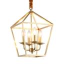 Dinging Room Foyer Candle Chandelier Metal 4 Lights Vintage Style Gold Pendant Lamp