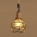 Rope Wire Cage Pendant Light Dining Room Kitchen Single Light Rustic Style Hanging Light in Beige