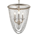 Traditional Style Candle Chandelier Metal 3 Lights Silver Suspension Light for Hotel Foyer
