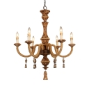 Metal and Rope Candle Suspension Light 6 Lights Antique Style Chandelier for Restaurant Coffee Shop