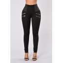 Womens High Rise Fashion Zip Embellished Skinny Fit Leggings