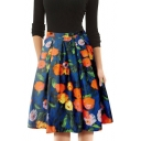 Vintage Blue Floral Printed Fashion A-Line Flared Pleated Skirt