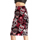 Summer Popular Floral Skull Printed Black Midi Pencil Skirt