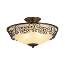 White Cone Shade Semi Flush Ceiling Light Traditional 3/5 Lights Metal Frosted Glass Light Fixture in Black/Brass for Living Room