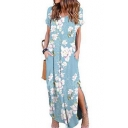 Summer Light Blue Floral Print V-Neck Short Sleeve Maxi Casual Shift Beach Dress