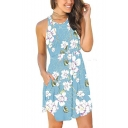 Summer Chic Floral Pattern Round Neck Sleeveless Mini Light Blue A-Line Tank Dress