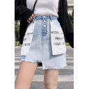 Summer Streetwear Cool Letter Pocket Mini Asymmetrical Reverse Denim Skirt