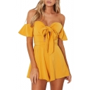 Fashion Bow Tied Cutout Front Off the Shoulder Ruffle Sleeve Solid Color Rompers