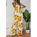 Summer Fashion Sunflower Printed Bow-Tied Straps Wide Leg Pants Jumpsuits