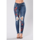 Summer Chic Floral Embroidery Distressed Ripped Fringed Hem Blue Slim Fit Jeans