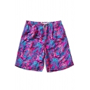 Mens New Trendy Pink Pattern Drawstring Waist Velcro Pocket Casual Loose Beach Swim Trunks